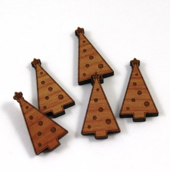 Wood & Acrylic Mini Shapes.8 Pieces.Christmas Tree  Laser Cut Supplies