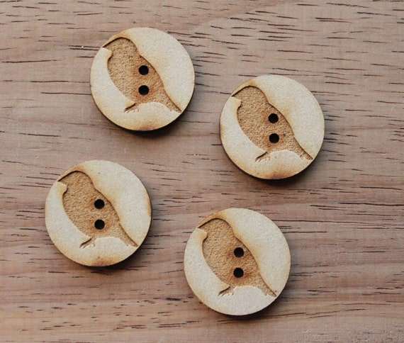 8 pieces.Sparrow.Round Buttons, 2.5 cm Buttons -Acrylic and Wood Laser Cut-Jewellery Supplies-Little Laser Lab Wood and Acrylic Products