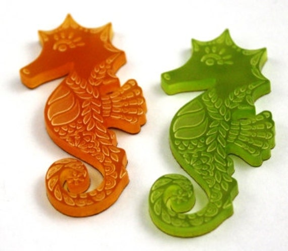 Wood And Acrylic Shapes. 1 Piece Seahorse Charms. Laser Cut Wood And Acrylic