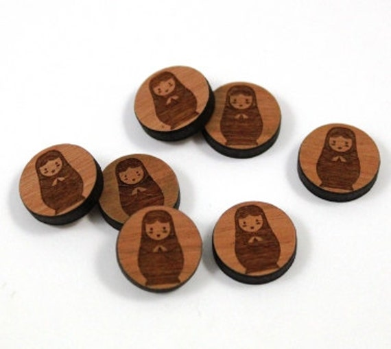 Wood & Acrylic Mini Shapes.8 Pieces.Russian Doll  Laser Cut Supplies