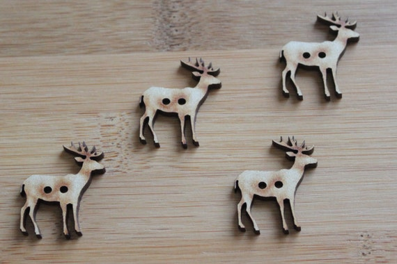 8 pieces. Elk Buttons, 3 cm Buttons -Acrylic and Wood Laser Cut-Jewellery Supplies-Little Laser Lab Wood and Acrylic Products