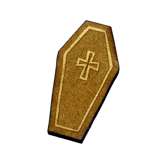 Wood & Acrylic Mini Shapes.8 Pieces.  Coffin Mini  Laser Cut Supplies