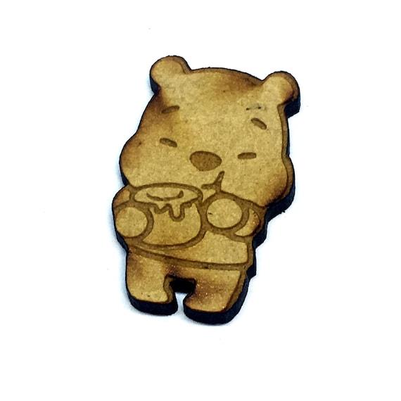 Wood & Acrylic Mini Shapes.8 Pieces.  Teddy With Honey Pot Mini  Laser Cut Supplies