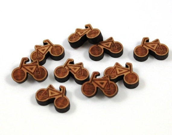 Wood & Acrylic Mini Shapes.8 Pieces.Bicycle  Laser Cut Supplies