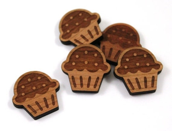 Laser Cut Supplies-8 Pieces. Cupcake Charms-Acrylic and Wood Laser Cut-Jewellery Supplies- Little Laser Lab Wood and Acrylic Products