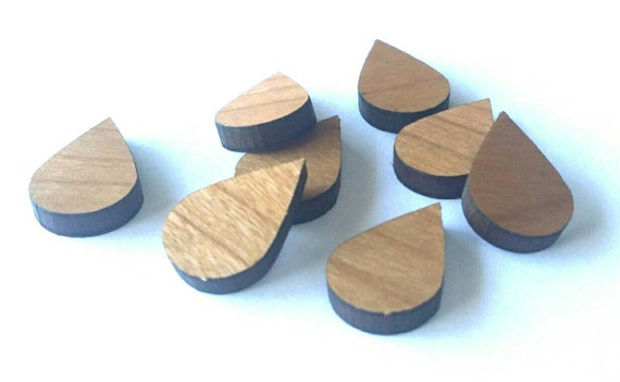 Wood & Acrylic Mini Shapes.8 Pieces Raindrop  Laser Cut Supplies