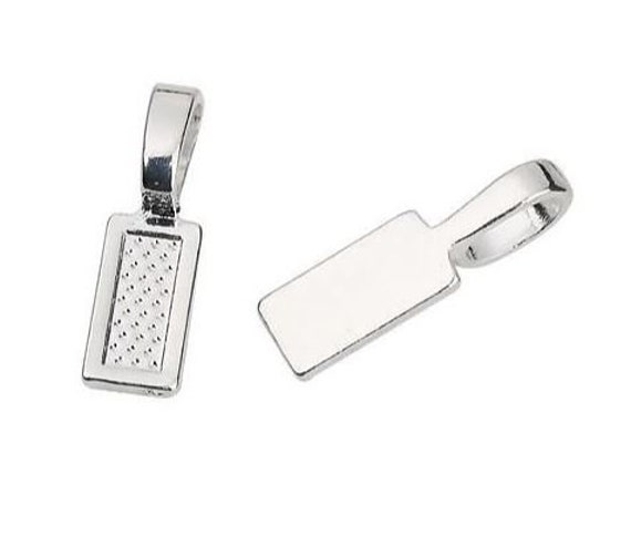 10 Pieces. Silver Plated Rectangle Tag. Rectangle Glue On Bails