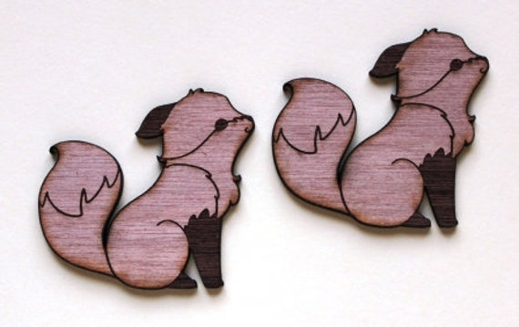 Laser Cut Supplies-1 Piece Fox Kiss Charms-Acrylic and Wood Laser Cut -Jewellery Supplies- Little Laser Lab Wood and Acrylic Products