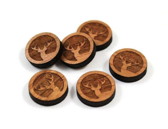 Laser Cut Supplies- 8 Pieces.Woodland Elk Charms-Acrylic and Wood Laser Cut-Jewellery Supplies- Little Laser Lab Wood and Acrylic Products