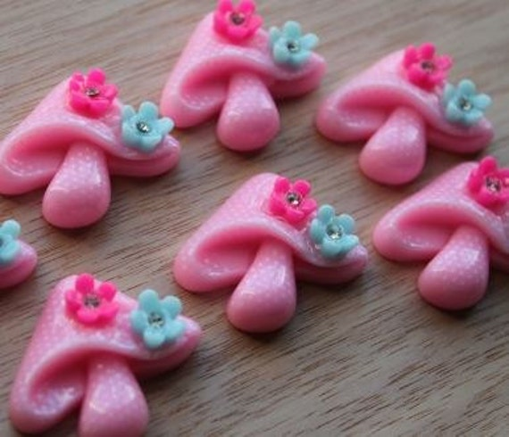 2 Pieces. Resin Flat back Cabochons 30 mm Pink Mushrooms with Flowers. Craft Supplies. DIY Supplies