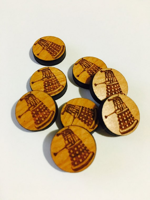 Laser Cut Supplies-8 Pieces. Dalek Charms-Acrylic and Wood Laser Cut-Jewellery Supplies- Little Laser Lab Wood and Acrylic Products