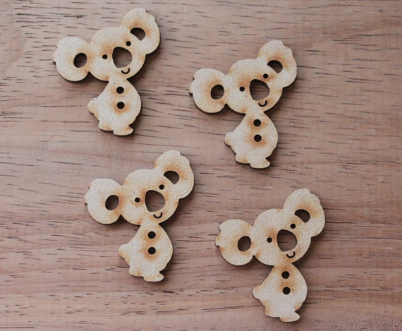 8 pieces.Cheeky Koala Buttons, 3.4 mm Buttons -Acrylic and Wood Laser Cut-Jewellery Supplies-Little Laser Lab Wood and Acrylic Products