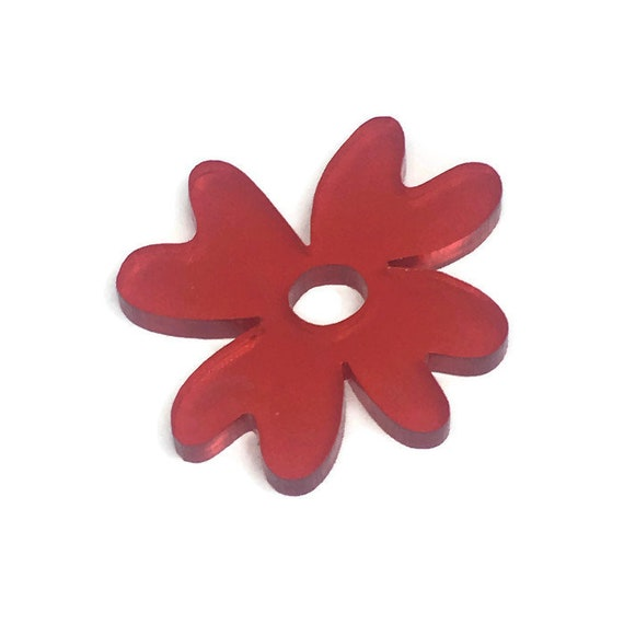 Wood And Acrylic Shapes. 1 Piece.Open Daisy Charms. Laser Cut Wood And Acrylic