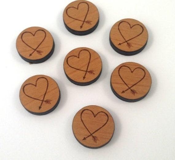 Wood & Acrylic Mini Shapes.8 Pieces.Love Arrow  Laser Cut Supplies