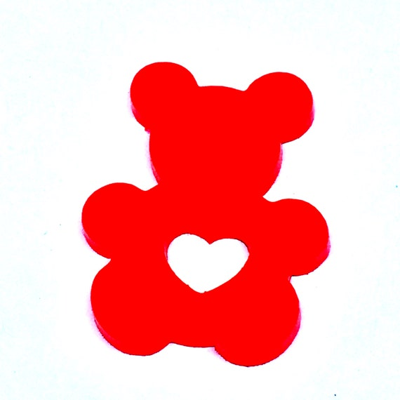 Wood And Acrylic Shapes. 1 Piece. Teddy Heart Charms. Laser Cut Wood And Acrylic