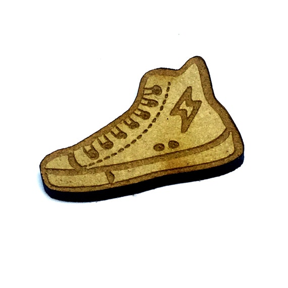 Wood & Acrylic Mini Shapes.8 Pieces.  High Top Sneaker Mini  Laser Cut Supplies