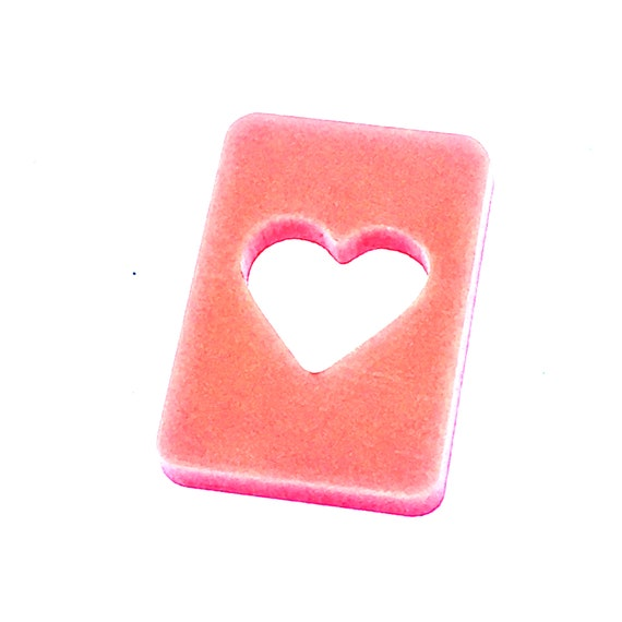 Wood And Acrylic Shapes. 1 Piece.Heart Card Charms. Laser Cut Wood And Acrylic