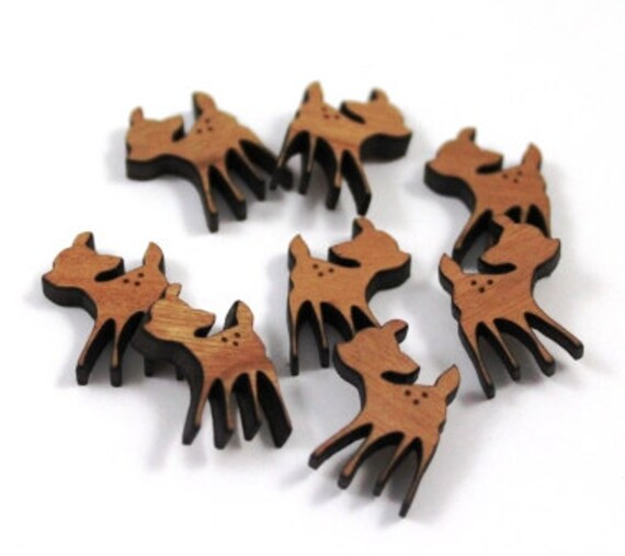 Wood & Acrylic Mini Shapes.8 Pieces.Fawn  Laser Cut Supplies