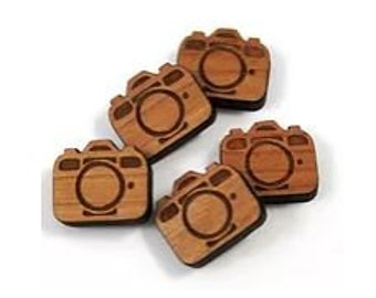 Laser Cut Jewelry Supplies.4 Pieces.Camera Charms.