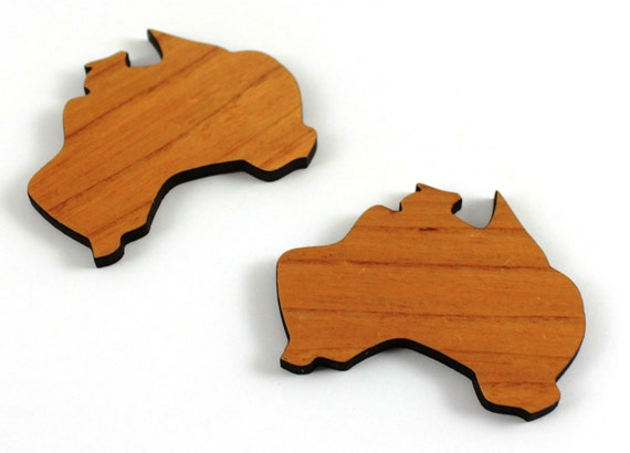 Wood And Acrylic Shapes. 1 Piece.Australia Charms. Laser Cut Wood And Acrylic