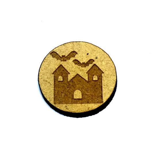 Wood & Acrylic Mini Shapes.8 Pieces.  Haunted House Mini  Laser Cut Supplies