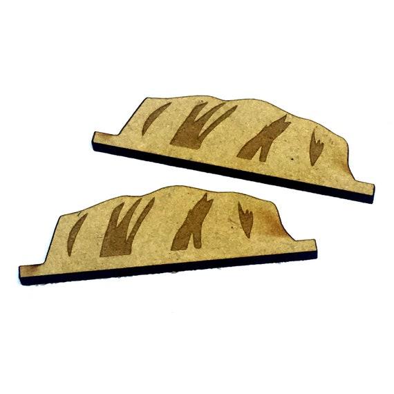 Wood & Acrylic Mini Shapes.8 Pieces.  Australian Uluru Mini  Laser Cut Supplies