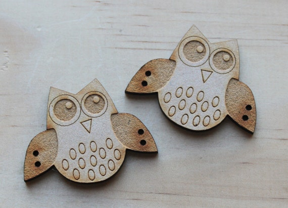 2 Little Owl Buttons, 5 cm Buttons -Acrylic and Wood Laser Cut-Jewellery Supplies-Little Laser Lab Wood and Acrylic Products