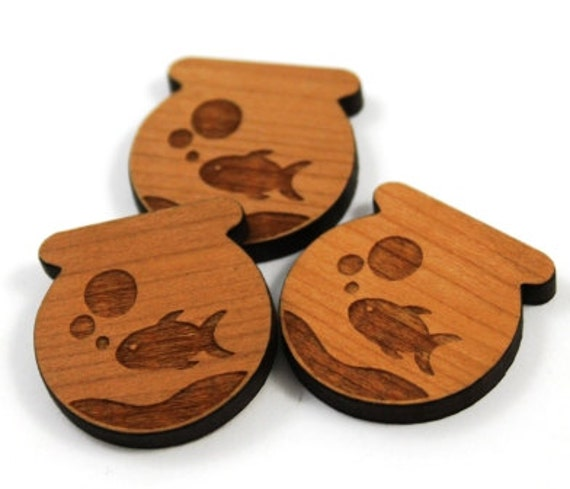 Wood & Acrylic Mini Shapes.8 Pieces. Goldfish  Laser Cut Supplies