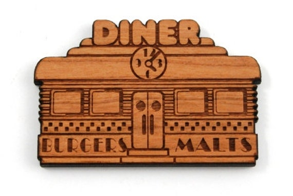 Wood And Acrylic Shapes. 1 Piece.Retro Diner Charms. Laser Cut Wood And Acrylic