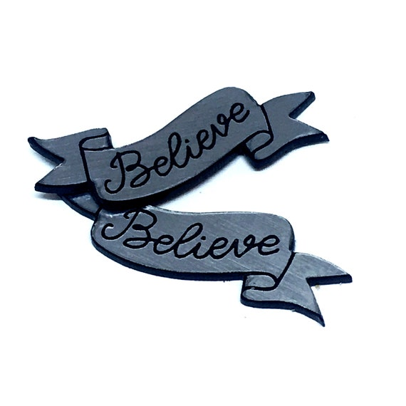 Wood And Acrylic Shapes. 1 Piece Believe Banner Charms. Laser Cut Wood And Acrylic