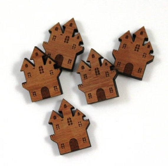 Laser Cut Supplies-8 Pieces. Haunted House Charms-Acrylic and Wood Laser Cut -Jewellery Supplies- Little Laser Lab Wood and Acrylic Products