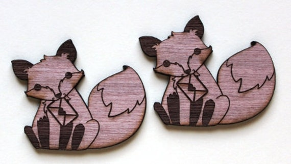 Laser Cut Supplies-1 Piece Fox Mail Charms-Acrylic and Wood Laser Cut -Jewellery Supplies- Little Laser Lab Wood and Acrylic Products