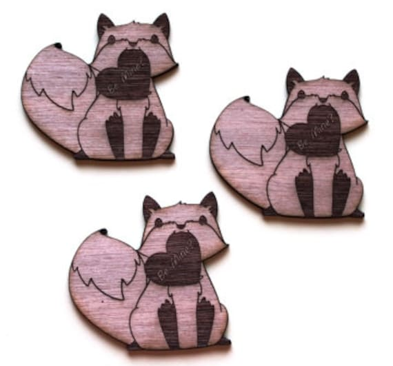 Laser Cut Supplies-1 Piece Fox Love Charms-Acrylic and Wood Laser Cut -Jewellery Supplies- Little Laser Lab Wood and Acrylic Products