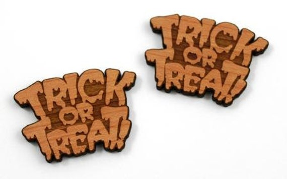Laser Cut Supplies-1 Piece.Trick or Treat Charms-Acrylic and Wood Laser Cut -Jewellery Supplies- Little Laser Lab Wood and Acrylic Products
