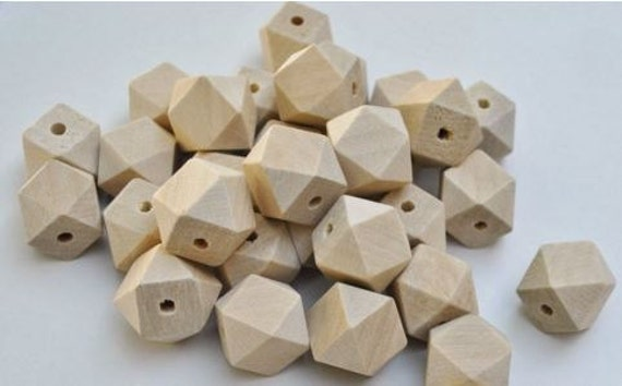 Bead Supplies-10 Pieces. Geometric - Natural Wood Beads- 16 mm -Jewelry Supplies-Little Laser Lab.