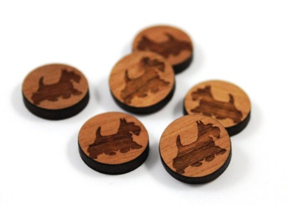 Wood & Acrylic Mini Shapes.8 Pieces.Scottie Dog  Laser Cut Supplies