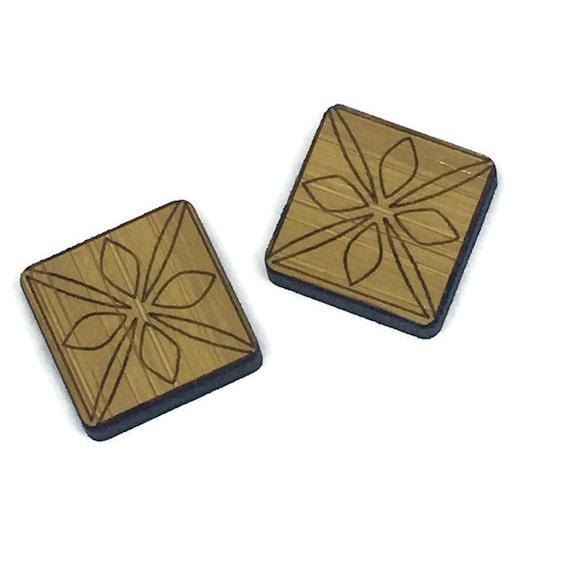 Bamboo Mini Shapes.8 Pieces.Folk Art Square Pattern. Laser Cut Supplies