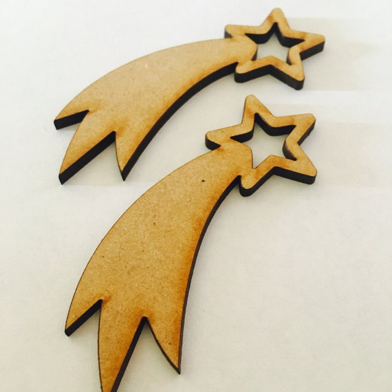 Lasercut Craft Wood Shooting Stars. Set of 2. 60mm -Acrylic and Wood Laser Cut-Jewellery Supplies-Little Laser Lab Wood and Acrylic Products