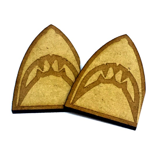 Wood & Acrylic Mini Shapes.8 Pieces. Shark Mini  Laser Cut Supplies
