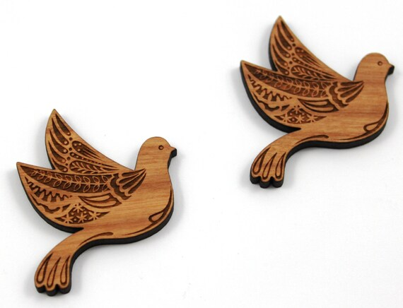 Wood And Acrylic Shapes. 1 Piece.Pretty Bird Charms. Laser Cut Wood And Acrylic