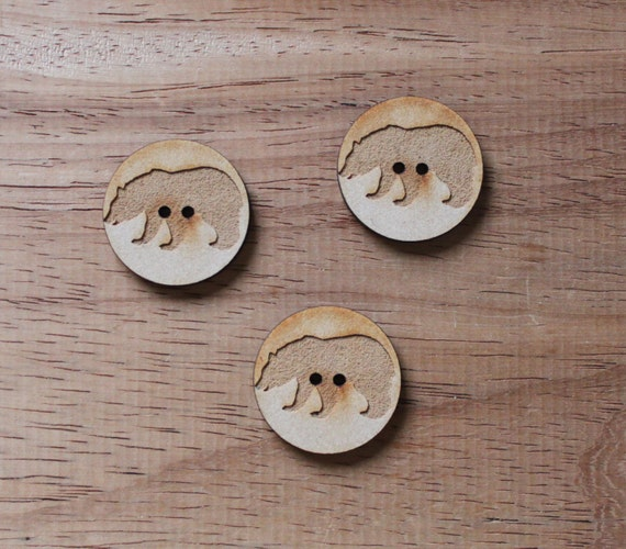 8 pieces.Bear Woodland.Round Button,3 cm Button.Acrylic and Wood Laser Cut-Jewelry Supplies-Little Laser Lab Wood and Acrylic Products