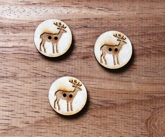 8 pieces.Elk Woodland.Round Buttons,3 cm Buttons -Acrylic and Wood Laser Cut-Jewelry Supplies-Little Laser Lab Wood and Acrylic Products