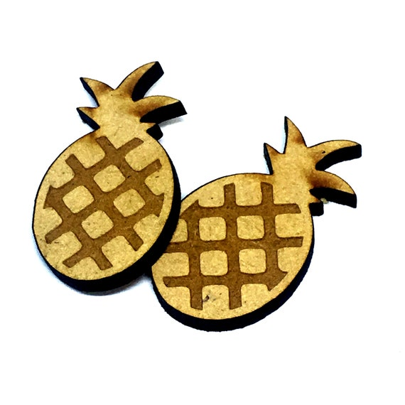 Wood & Acrylic Mini Shapes.8 Pieces.  Pineapple Mini  Laser Cut Supplies
