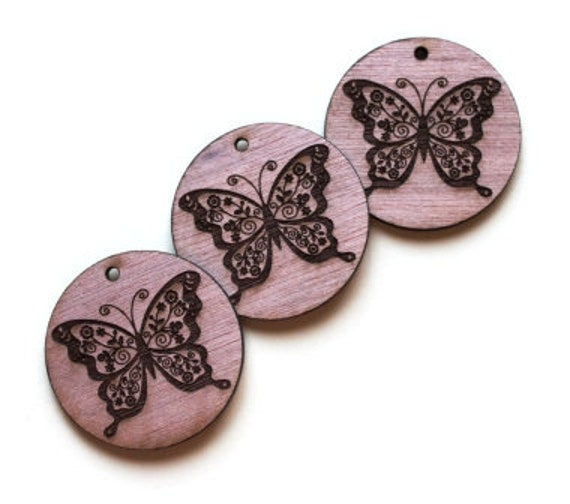 Laser Cut Supplies-1 Piece Floral Butterfly Charms-Acrylic and Wood Laser Cut-Jewellery Supplies- Little Laser Lab Wood and Acrylic Products