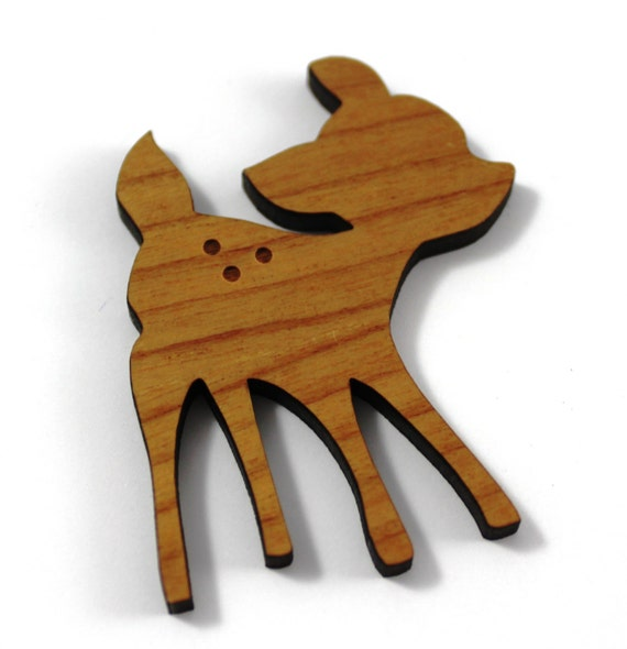 Wood And Acrylic Shapes. 1 Piece.Fawn Charms. Laser Cut Wood And Acrylic