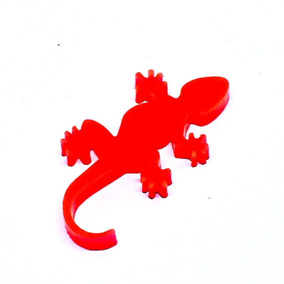 Wood And Acrylic Shapes. 1 Piece. Gecko Charms. Laser Cut Wood And Acrylic