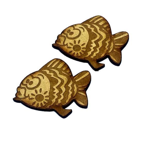 Wood & Acrylic Mini Shapes.4 Pieces.  Fish Mini  Laser Cut Supplies