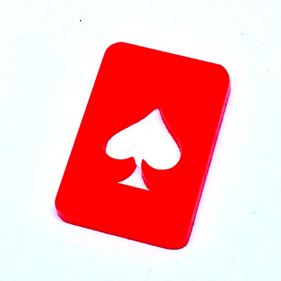 Wood And Acrylic Shapes. 1 Piece.Spade Card Charms. Laser Cut Wood And Acrylic