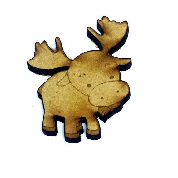 Wood & Acrylic Mini Shapes.4 Pieces. Cute Moose Mini  Laser Cut Supplies