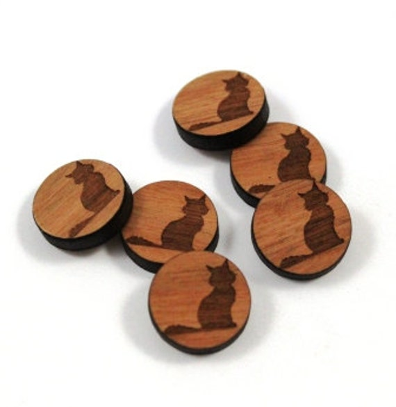 Wood & Acrylic Mini Shapes.8 Pieces.Black Cat  Laser Cut Supplies